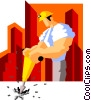 construction worker drilling Vector Clip Art picture
