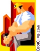 Vector Clip Art graphic  of a construction worker operating