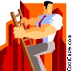 Vector Clip Art graphic  of a man climbing the corporate