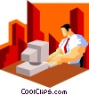 Vector Clipart graphic  of a businessman inputting data