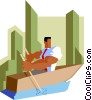 businessman rowing to destination Vector Clip Art image