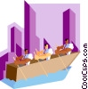 Vector Clip Art image  of a businessmen rowing to