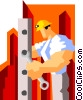 Vector Clip Art image  of a construction worker assembling