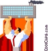 Vector Clipart image  of a businessman holding up factory