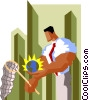 businessman chasing global opportunities Vector Clipart picture