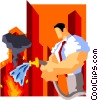 Vector Clipart graphic  of a businessman putting out fires