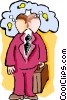 Vector Clip Art image  of a businessman thinking of ideas
