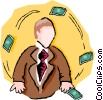 Vector Clip Art graphic  of a wheeling and dealing