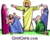 Vector Clipart image  of a Jesus surrounded by awe-struck