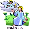 Jesus speaking with angel Vector Clipart picture