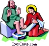 Jesus washing the feet of a disciple Vector Clipart illustration