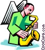 Vector Clip Art picture  of an angel playing a saxophone