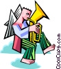 angel playing a tuba Vector Clipart illustration
