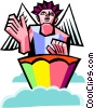 Vector Clipart graphic  of an angel playing a drum