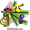 Christmas tree branch with ornaments Vector Clip Art graphic