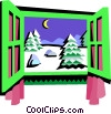 window frame, winter scene Vector Clipart illustration