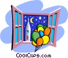 Vector Clipart illustration  of a balloons against night sky