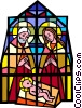 stained glass Jesus, Joseph, Mary Vector Clipart illustration