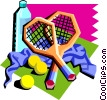 tennis rackets with water bottle, etc. Vector Clipart graphic