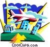 Vector Clipart image  of a plane over various landmarks