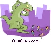 Godzilla chasing people Vector Clipart picture