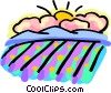Vector Clip Art graphic  of a Rain clouds with sun in