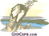 Vector Clipart image  of a trees hanging off cliff