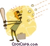 Vector Clipart picture  of a batting ideas around