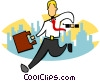 stylized businessman running Vector Clip Art image