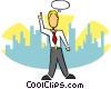 stylized businessman thinking Vector Clipart graphic