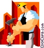 Vector Clipart graphic  of a miner chiseling