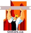 construction worker suspending beam Vector Clip Art picture