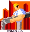 Vector Clip Art image  of a construction worker pouring