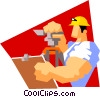construction worker surveying Vector Clipart image