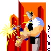 Vector Clipart picture  of a construction worker welding