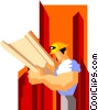 Vector Clipart picture  of a construction worker reviewing