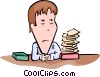 Vector Clipart illustration  of a businessman facing urgent pile