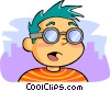 Vector Clipart graphic  of a Boy with glasses