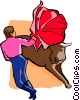 Vector Clip Art picture  of a bullfighter with bull