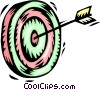 Vector Clip Art graphic  of an arrow in bull's-eye