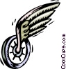 Vector Clip Art picture  of a unicycle with wing