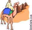 Vector Clip Art graphic  of a Egyptian on camel