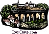 Vector Clip Art picture  of a woodcut European landscape
