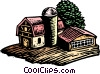 Vector Clip Art graphic  of a Woodcut farm landscape