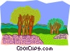tree clusters in field Vector Clipart illustration