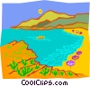 Vector Clipart picture  of a beach with boat