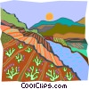 Vector Clipart illustration  of a stream by farm leading to