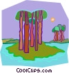 Vector Clip Art image  of a island with trees