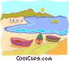 Vector Clipart illustration  of a beach with boats on the shore