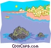 Vector Clipart illustration  of a city on shoreline with rocks